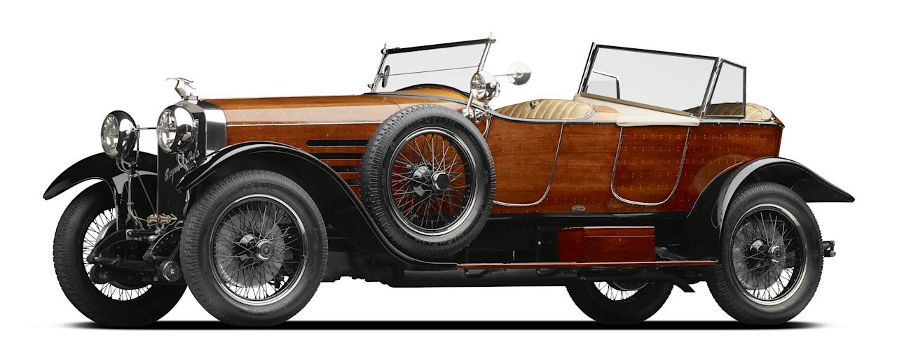 <p>French patron Suzanna Deutsch de la Meurthe bought this Hispano-Suiza HB6 chassis at the 1919 Paris Auto Salon. She then sent it to Henri Labourdette's coachbuilding workshop to be custom built with a 'skiff torpedo' body. This wooden hand-crafted body was inspired by the torpedo shape of boats. This commission would have been a hugely expensive and time-consuming undertaking – but it clearly signified, to her peers and to onlookers from the street, that the owner was a person of refined tastes and deep pockets.<br />Hispano-Suiza Type HB6 'Skiff Torpedo'. Hispano-Suiza (chassis) Henri Labourdette (body) 1922. Photo by Michael Furman © The Mullin Automotive Museum (V&A Museum) </p>