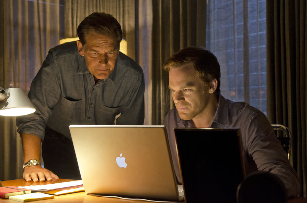 "James Remar as Harry Morgan and Michael C. Hall as Dexter Morgan in the ""Dexter"" episode, ""Do the Wrong Thing."""