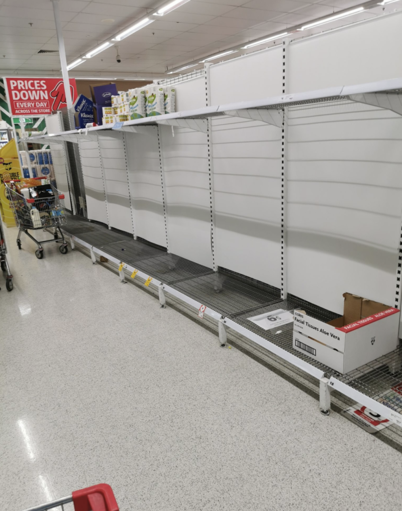 Empty toilet paper shelves in Adelaide Coles.