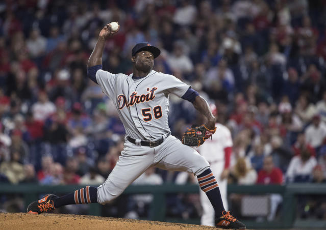 FILE - In this April 30, 2019, file photo, Detroit Tigers' Victor Alcntara pitches against the Philadelphia Phillies in a baseball game in Philadelphia. Alcntara was suspended for 80 games Friday, Feb. 21, 2020, under the major league drug program following a positive test for the performance-enhancing substance Stanozolol. The 26-year-old right-hander was 3-2 with a 4.85 ERA last season in 46 relief appearances for the Tigers. He became a free agent last fall after he was assigned outright to Triple-A Toledo on Oct. 24. (AP Photo/Matt Rourke, File)