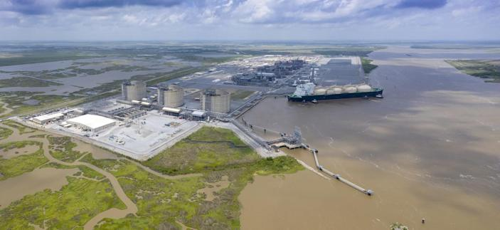 Sempra's Cameron liquefied natural gas export terminal loads its first commissioning cargo in Hackberry, La., in May 2019.
