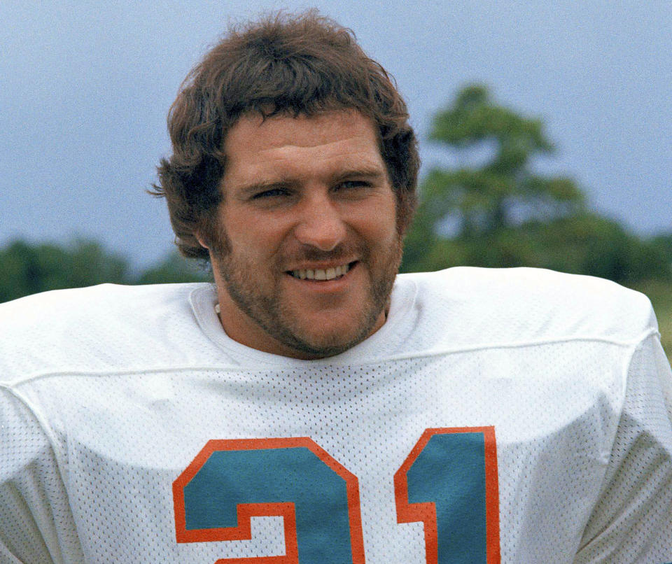 FILE - In this 1973 file photo, Miami Dolphins running back Jim Kiick poses for a photo. Former running back Kiick, who helped the Dolphins achieve the NFLs only perfect season in 1972, has died at age 73. In recent years Kiick battled memory issues and lived in an assisted living home, and the team announced his death Saturday, June 20, 2020. (AP Photo/GB, File)
