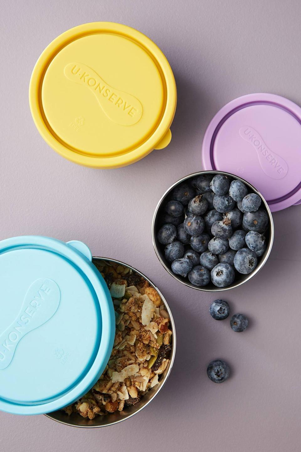 """<p><strong>U Konserve Anthropologie</strong></p><p>anthropologie.com</p><p><strong>$25.00</strong></p><p><a href=""""https://go.redirectingat.com?id=74968X1596630&url=https%3A%2F%2Fwww.anthropologie.com%2Fshop%2Fu-konserve-nesting-food-storage-containers-set-of-3&sref=https%3A%2F%2Fwww.thepioneerwoman.com%2Fhome-lifestyle%2Fdecorating-ideas%2Fg33901854%2Fbest-food-storage-containers%2F"""" rel=""""nofollow noopener"""" target=""""_blank"""" data-ylk=""""slk:Shop Now"""" class=""""link rapid-noclick-resp"""">Shop Now</a></p><p>Stainless steel containers are ideal for packing foods you'd like to keep cool, like fruit, pasta salad, or guacamole. These are BPA-free, dishwasher-safe, and nest to avoid taking up valuable cabinet real estate.</p>"""