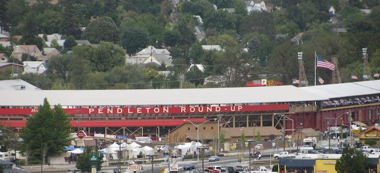 The exterior of the Pendleton Round-up from a distance — Pendleton Chamber of Commerce
