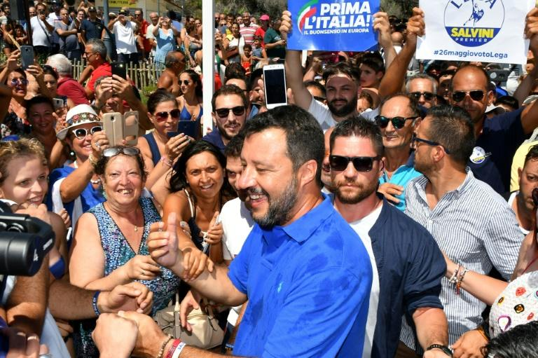"The social media-loving Salvini has been burnishing his ""man of the people"" image through a series of beach selfies in swimming trunks in recent days"