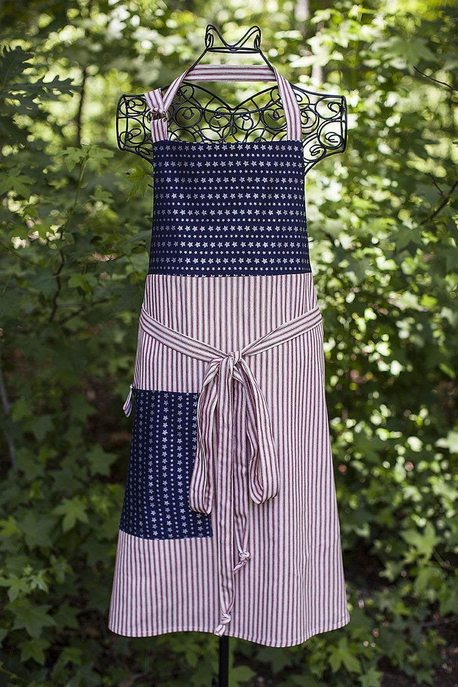 """<p>Even if you'll be manning the grill all night, you can still don your 4th of July best. With a little sewing know-how, you can whip up this impressive star-spangled apron. (Of course, there are store-bought versions, too.) </p><p><a class=""""link rapid-noclick-resp"""" href=""""https://celebrate-creativity.com/my_weblog/2016/06/patriotic-apron.html"""" rel=""""nofollow noopener"""" target=""""_blank"""" data-ylk=""""slk:GET THE TUTORIAL"""">GET THE TUTORIAL</a></p><p> <a class=""""link rapid-noclick-resp"""" href=""""https://www.amazon.com/DII-Cotton-Vintage-American-Apronwith/dp/B01N443896/ref=sr_1_19_sspa?dchild=1&keywords=4th+of+july+apron&qid=1591665567&sr=8-19-spons&psc=1&spLa=ZW5jcnlwdGVkUXVhbGlmaWVyPUFPQUw1NEFJQTJXQUYmZW5jcnlwdGVkSWQ9QTAyMTE5MTMzOEpMVzBDREw1UU1YJmVuY3J5cHRlZEFkSWQ9QTA2NDk3NTAzNEtXSTlaRjNQTk5JJndpZGdldE5hbWU9c3BfbXRmJmFjdGlvbj1jbGlja1JlZGlyZWN0JmRvTm90TG9nQ2xpY2s9dHJ1ZQ%3D%3D&tag=syn-yahoo-20&ascsubtag=%5Bartid%7C10072.g.32715018%5Bsrc%7Cyahoo-us"""" rel=""""nofollow noopener"""" target=""""_blank"""" data-ylk=""""slk:SHOP APRON"""">SHOP APRON</a></p>"""