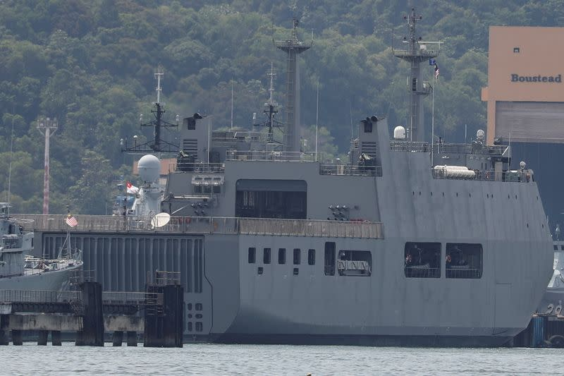 Myanmar Navy vessel is docked at a jetty in Lumut