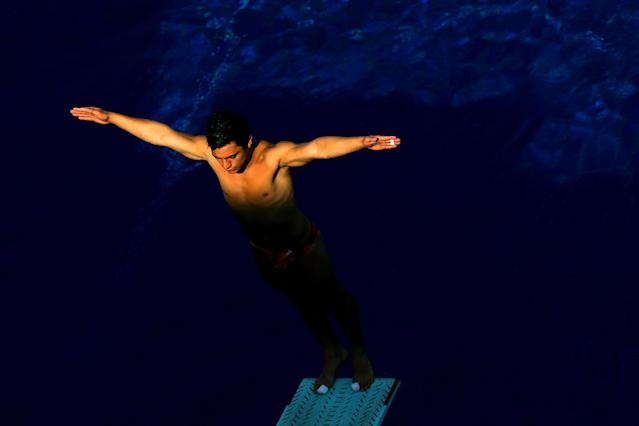 BARCELONA, SPAIN - JULY 19: An athlete trains ahead of the 15th FINA World Championships at Piscina Municipal de Montjuic on July 19, 2013 in Barcelona, Spain. (Photo by Al Bello/Getty Images)