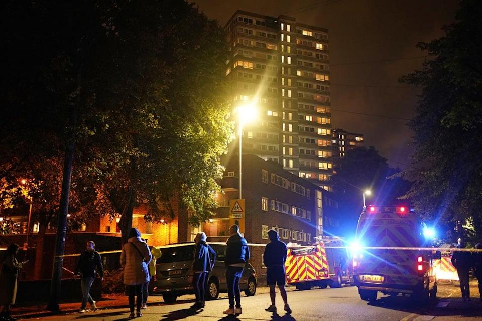 The scene of a fire at a tower block on Westbridge Road in Battersea (Aaron Chown/PA) (PA Wire)