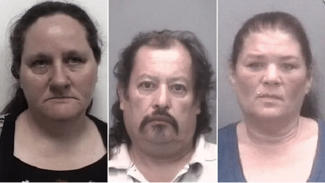 The trio - Alice Todd (l), Vicencio Romero, Tina Davis - will appear in court later this month (Thomasville POlice Dept)