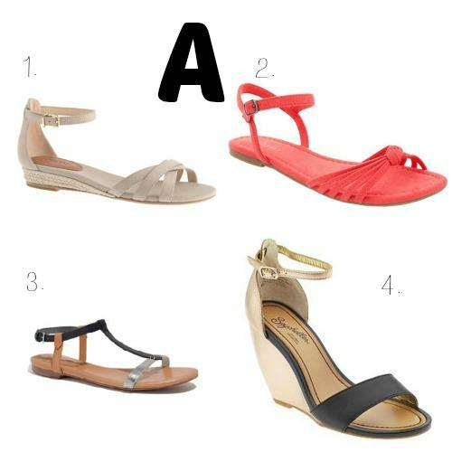 """<div class=""""caption-credit""""> Photo by: Michelle Horton</div><div class=""""caption-title""""></div><b>A is for Ankle-Strap Sandals <br></b> This is the shoe shape of the season, for sure. And it's not just limited to flats - the ankle-strap shoe is big in heels and wedges, as well. <br> <i>Buy them from <a rel=""""nofollow"""" href=""""https://ec.yimg.com/ec?url=http%3a%2f%2fwww.jcrew.com%2fwomens_category%2fshoes%2fsandals%2fPRDOVR~53504%2f53504.jsp%26quot%3b&t=1506089413&sig=xMaTwfCCsj.oNVwqmQ1Wpg--~D target=""""_blank"""">J.Crew</a>, <a rel=""""nofollow"""" href=""""http://oldnavy.gap.com/browse/product.do?cid=55151&vid=1&pid=644859042"""" target=""""_blank"""">Old Navy</a>, <a rel=""""nofollow"""" href=""""https://www.madewell.com/madewell_category/SHOESANDSANDALS/sandals/PRDOVR~89272/89272.jsp"""" target=""""_blank"""">Madewell</a>, and <a rel=""""nofollow"""" href=""""http://piperlime.gap.com/browse/product.do?cid=92633&vid=1&pid=690886012"""" target=""""_blank"""">Piperlime</a></i> <br> <br> <b><a rel=""""nofollow"""" href=""""http://www.babble.com/baby/mom-style-10-flattering-spring-dresses-perfect-for-every-style-shape-and-budget/?cmp=ELP bbl  YahooShine  InHouse 070513 ABCsSummerFashion  famE """">Related: 10 flattering summer dresses for every style, shape, and budget</a></b>"""