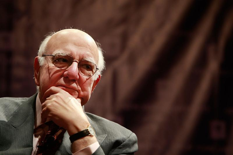 Former Federal Reserve Chairman Paul Volcker looks on at a forum on multilateralism and global issues at New York University March 25, 2009, in New York City. (Photo: Mario Tama via Getty Images)