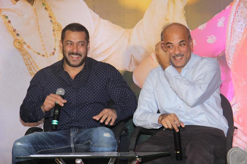 MUMBAI, INDIA - NOVEMBER 16: Bollywood actor Salman Khan with filmmaker Sooraj Barjatya during the press conference organised to thank the audience for the love and support they have shown for the film Prem Ratan Dhan Payo on November 16, 2015 in Mumbai, India. (Photo by Pramod Thakur/Hindustan Times via Getty Images)