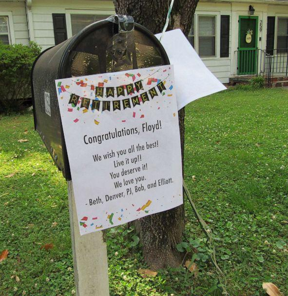 PHOTO: Signs, streamers and balloon's adorned the mailboxes of Floyd Martin's route in Marietta, Ga., on his last day on the job. (Jennifer Brett/The Atlanta Journal-Constitution )