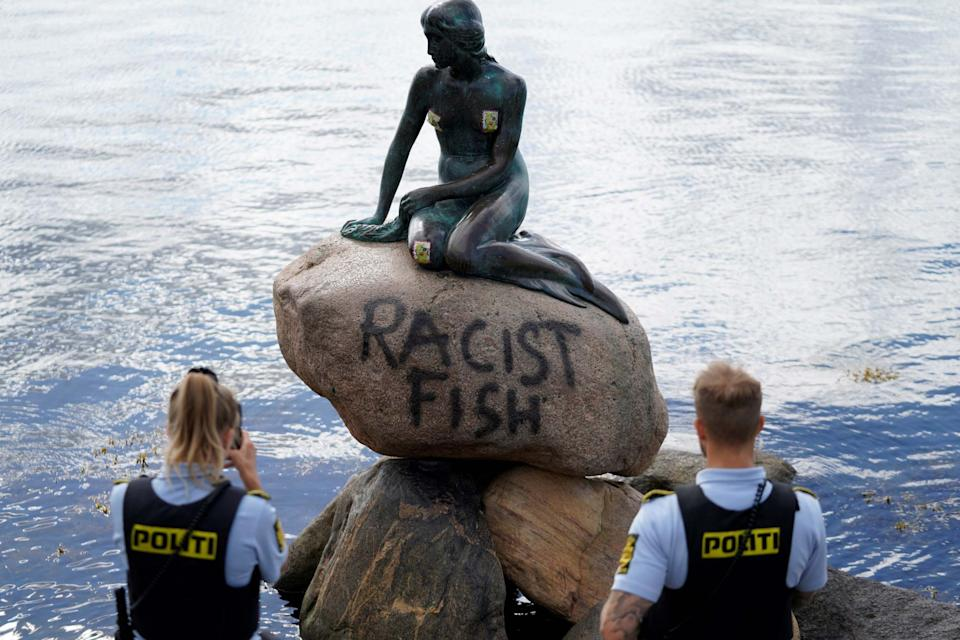 Police are investigating the 'racist fish' vandalism of the city's iconic landmark: via REUTERS