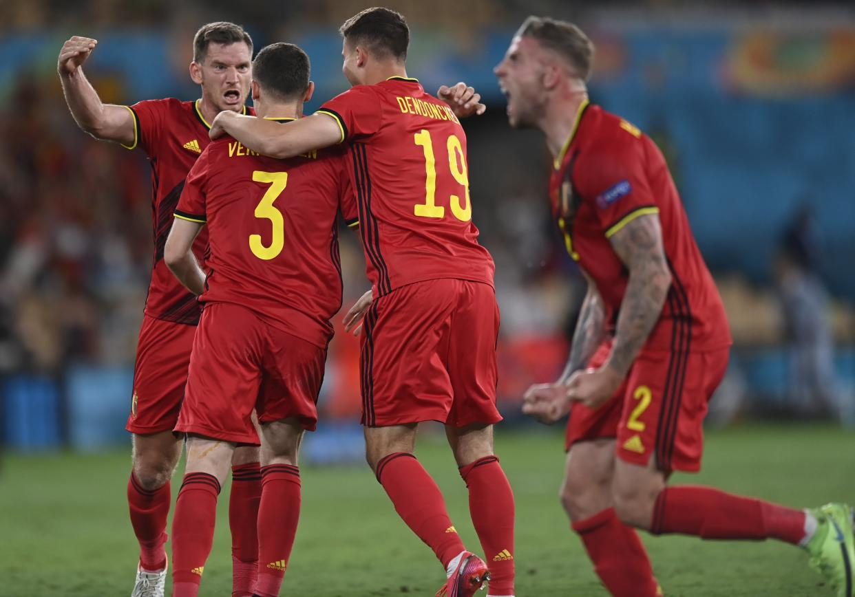 Sevilla, Spain - June 27 :  Jan Vertonghen defender of Belgium celebrates the win with teammates during the 16th UEFA Euro 2020 Championship Round of 16 match between Belgium and Portugal on June 27, 2021 in Sevilla, Spain, 27/06/2021 ( Photo by Nico Vereecken / Photonews via Getty Images)