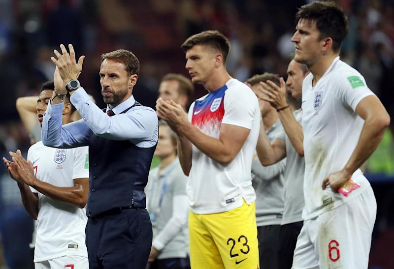 All over: Gareth Southgate and the squad applaud the fans (EPA)