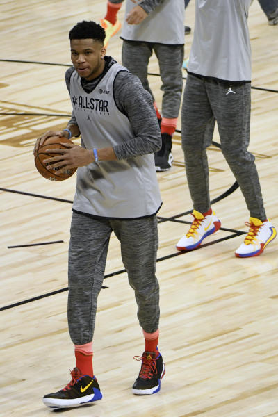 Giannis Antetokounmpo of the Milwaukee Bucks warms up during an NBA All-Star basketball game practice Saturday, Feb. 15, 2020, in Chicago. (AP Photo/David Banks)