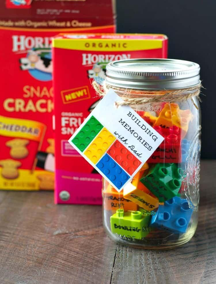 """<p>This gift is as simple as writing Dad's favorite hobbies and activities on brick-style blocks. </p><p><strong><em>Get the tutorial at <a href=""""https://www.theseasonedmom.com/diy-fathers-day-gift-building-memories-dad/"""" rel=""""nofollow noopener"""" target=""""_blank"""" data-ylk=""""slk:The Seasoned Mom"""" class=""""link rapid-noclick-resp"""">The Seasoned Mom</a>.</em></strong></p>"""