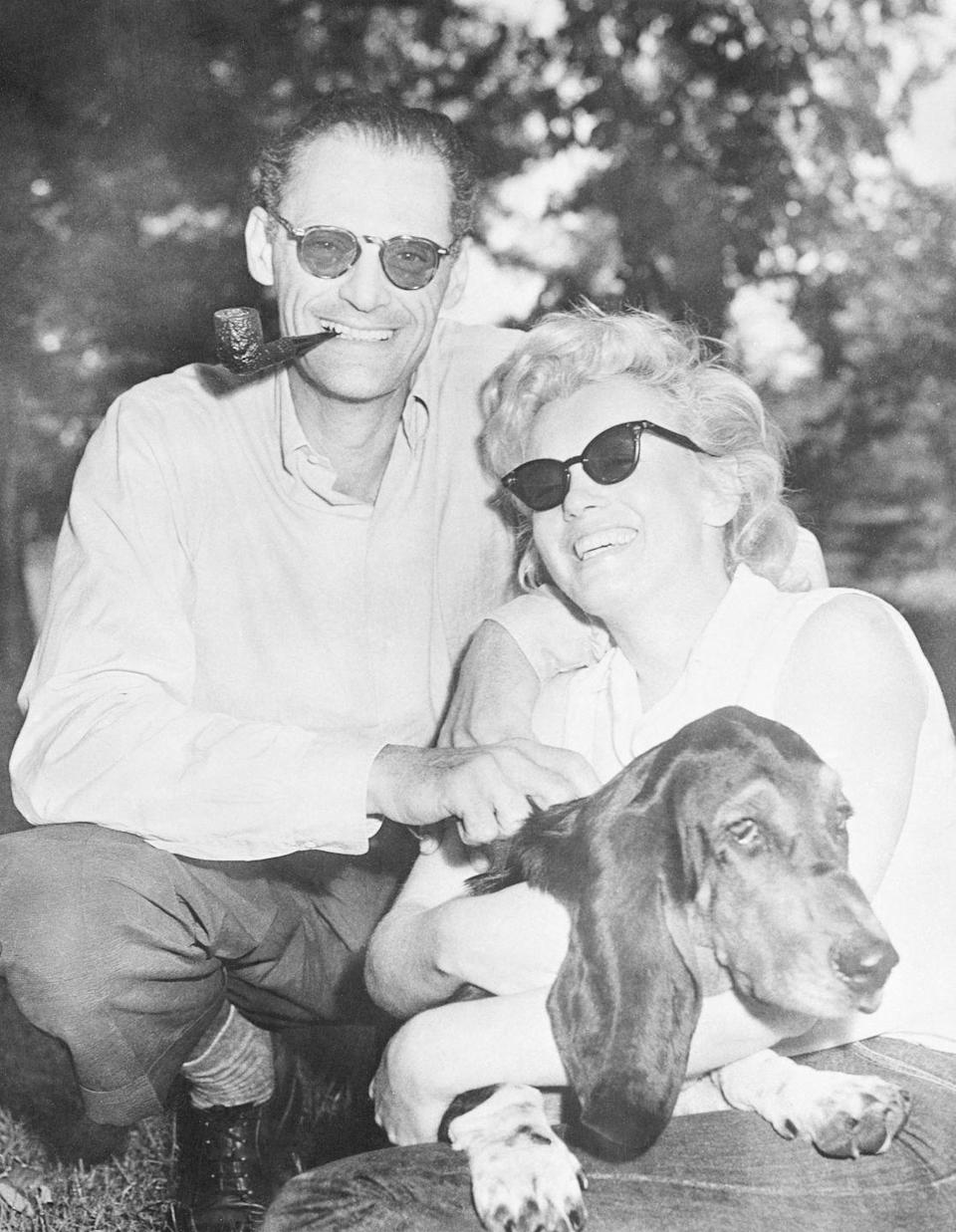 """<p>During her marriage to famous playwright Arthur Miller, Marilyn Monroe often retreated to Arthur's country home in Roxbury, Connecticut with the couple's basset hound, Hugo. After their divorce, Marilyn was gifted a <a href=""""https://www.neatorama.com/2016/01/27/Marilyn-Monroe-and-Her-Pets/"""" rel=""""nofollow noopener"""" target=""""_blank"""" data-ylk=""""slk:white Poodle puppy from Frank Sinatra"""" class=""""link rapid-noclick-resp"""">white Poodle puppy from Frank Sinatra</a>, which she named Maf. </p>"""