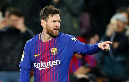 FILE PHOTO: Soccer Football - Spanish King's Cup - FC Barcelona vs Celta Vigo - Camp Nou, Barcelona, Spain - January 11, 2018 Barcelona's Lionel Messi celebrates scoring their second goal REUTERS/Albert Gea
