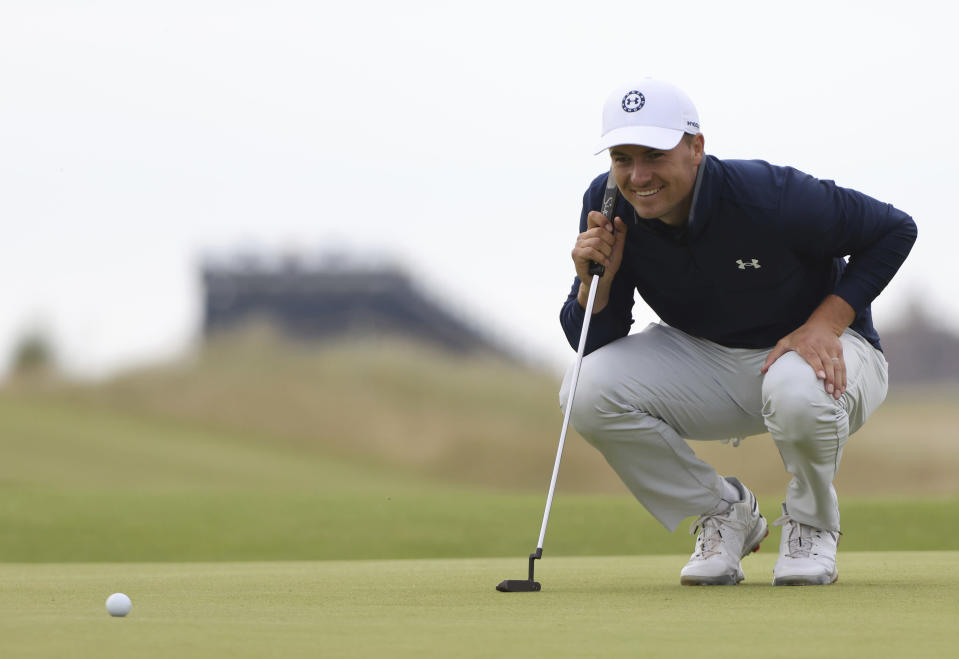 United States' Jordan Spieth putts on the 12th green during a practice round for the British Open Golf Championship at Royal St George's golf course Sandwich, England, Tuesday, July 13, 2021. The Open starts Thursday, July 15. (AP Photo/Ian Walton)