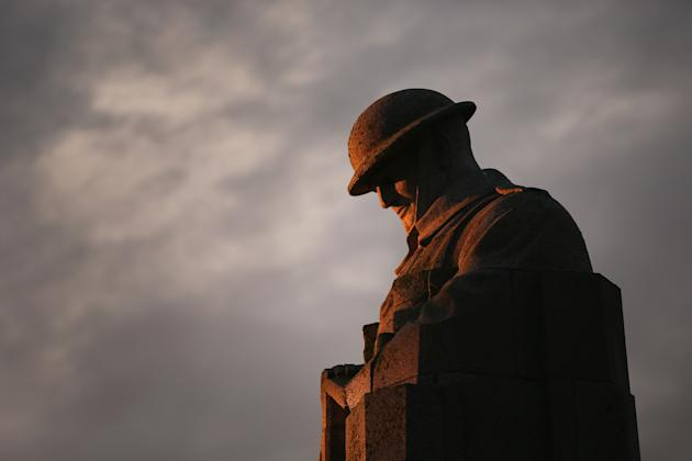 The sculpture of the 'Brooding Soldier' commemorates the Second Battle of Ypres of World War I.