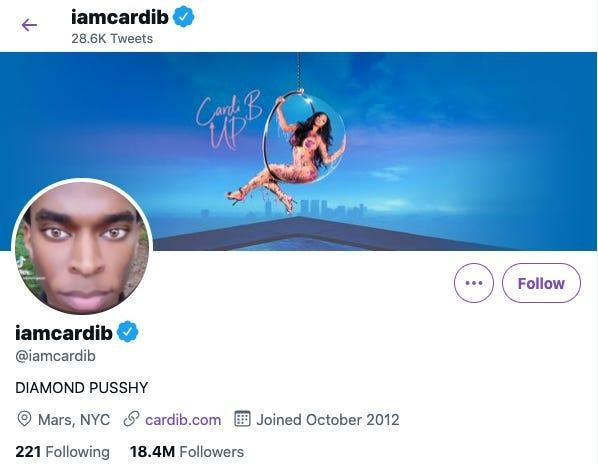 """cardi b's Twitter profile: header image shows Cardi B on a circular swing and the text """"Cari B UP,"""" profile photo is an image of william knight facing the camera. the profile description reads """"DIAMOND PUSSHY"""""""