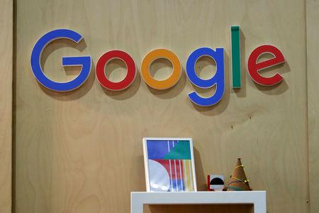FILE PHOTO: The Google logo is seen at the Young Entrepreneurs fair in Paris, France, February 7, 2018. REUTERS/Charles Platiau