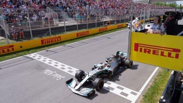 Mercedes driver Lewis Hamilton of Great Britain crosses the finish line to win the Canadian Grand Prix in Montreal on June 9, 2019. The 2020 race was cancelled due to COVID-19. (Paul Chiasson/The Canadian Press - image credit)