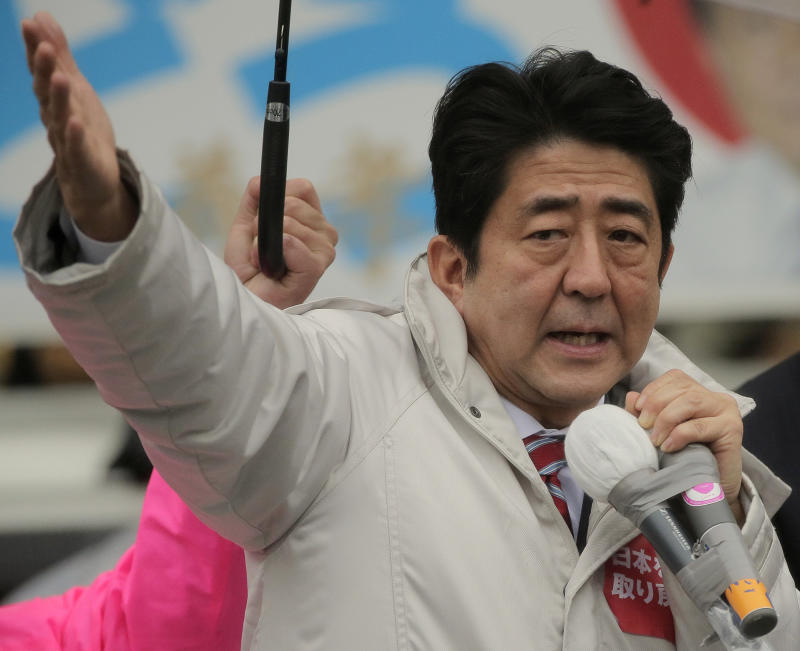 Japan's main opposition Liberal Democratic Party (LDP) President Shinzo Abe speaks during a campaign rally for the Dec. 16 parliamentary elections in Kawaguchi, near Tokyo, Saturday, Dec. 15, 2012. The LDP ruled Japan almost continuously since 1955 until it lost badly to the DPJ in 2009.  If the LDP wins on Sunday, it would give the nationalistic Abe, who was prime minister from 2006-2007, the top job again. His hawkish views raise questions about how that might affect ties with rival China amid a territorial dispute over a cluster of tiny islands claimed by both countries. (AP Photo/Itsuo Inouye)