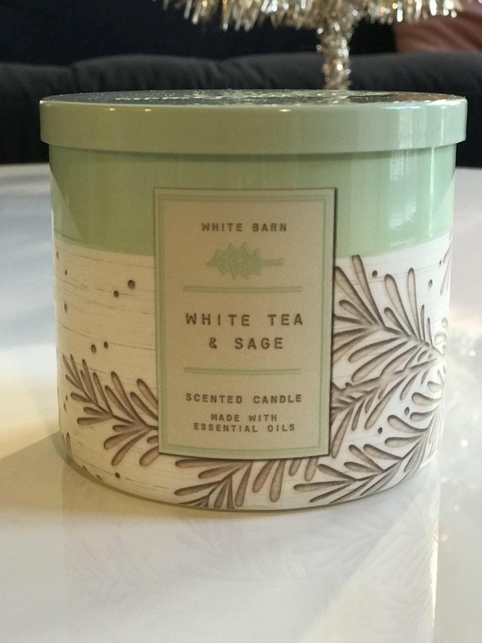 <p><span>White Tea & Sage 3-Wick Candle</span> ($15, originally $25)</p> <p><strong>What It Smells Like:</strong> Fresh and clean, a good one for January.</p>