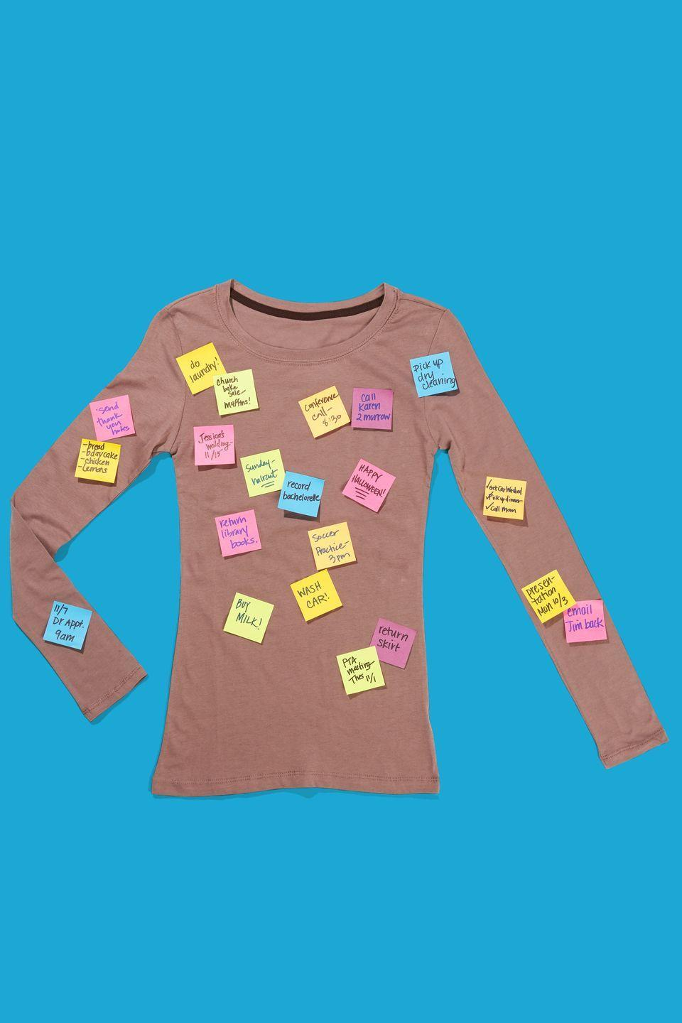 """<p>Dress in a brown t-shirt and stick Post-it notes filled with written reminders all over. Bring along an extra set of Post-its and a Sharpie so people can """"leave messages"""" as the night goes on. </p><p><strong><a class=""""link rapid-noclick-resp"""" href=""""https://www.amazon.com/OUGES-Womens-Sleeve-V-Neck-Button/dp/B087T97QFF/?tag=syn-yahoo-20&ascsubtag=%5Bartid%7C10070.g.490%5Bsrc%7Cyahoo-us"""" rel=""""nofollow noopener"""" target=""""_blank"""" data-ylk=""""slk:SHOP BROWN SHIRTS"""">SHOP BROWN SHIRTS</a></strong></p>"""