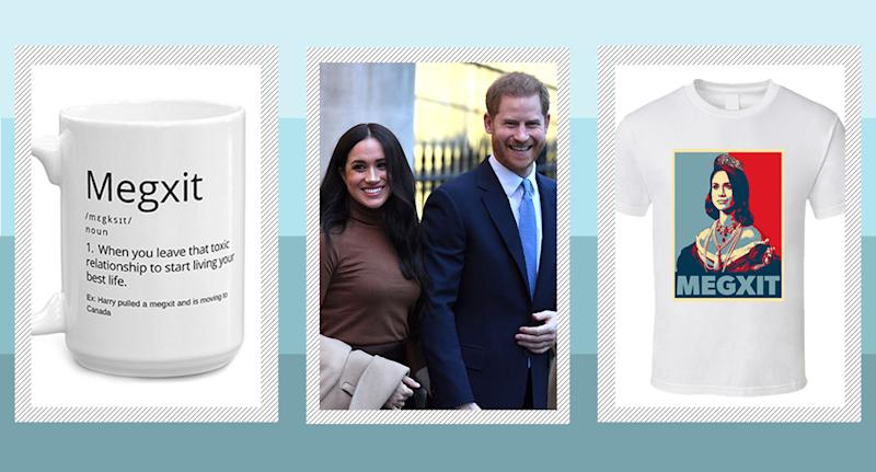 The announcement that The Duke and Duchess of Sussex will step down as senior members of the royal family has inspired 'Megxit' merch. [Photo: Etsy/Getty]