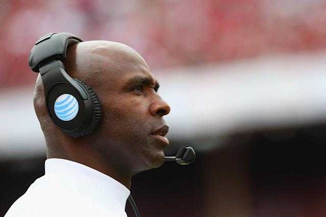 Charlie Strong spent three years as Texas' head coach and is now at USF. (Getty)