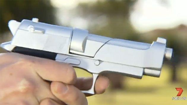 This toy gun in similar to the one the 11-year-old boy used to 'hold-up' a truck driver. Photo: 7 News