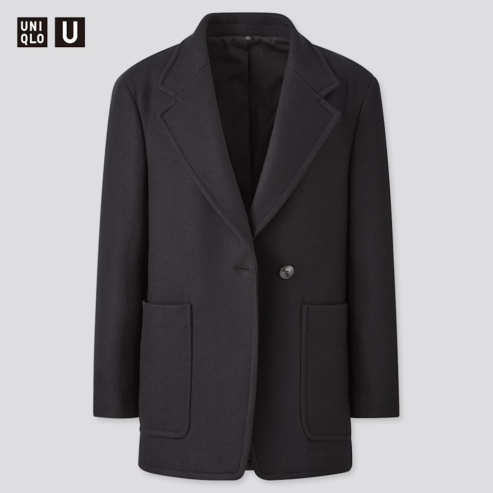 "<br><br><strong>Uniqlo U</strong> Wool-Jersey Blend Jacket, $, available at <a href=""https://go.skimresources.com/?id=30283X879131&url=https%3A%2F%2Fwww.uniqlo.com%2Fus%2Fen%2Fwomen-u-wool-jersey-blend-jacket-431590.html%3Fdwvar_431590_color%3DCOL09%23start%3D1%26cgid%3Dwomen-outerwear-and-blazers"" rel=""nofollow noopener"" target=""_blank"" data-ylk=""slk:Uniqlo"" class=""link rapid-noclick-resp"">Uniqlo</a>"