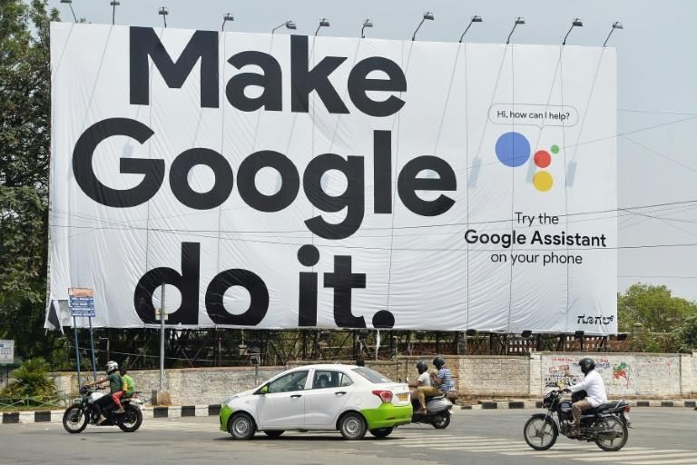 A Google billboard in Bangalore in 2018, where the company has denied it is abusing its market dominance