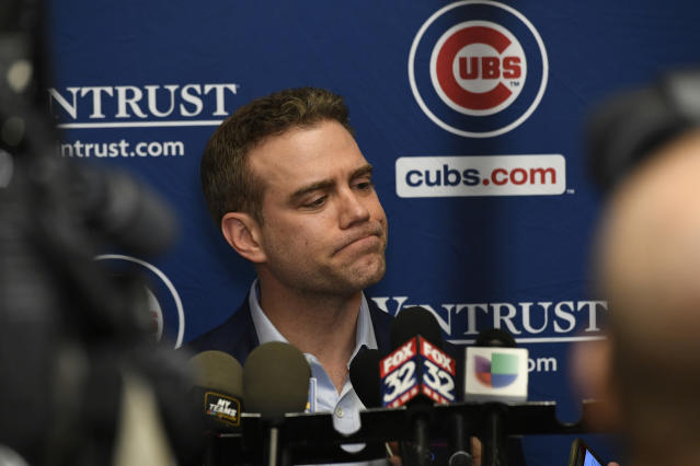 Chicago Cubs president of baseball operations Theo Epstein speaks to the media during the baseball team's convention, Friday, Jan. 17, 2020, in Chicago. (AP Photo/Paul Beaty)