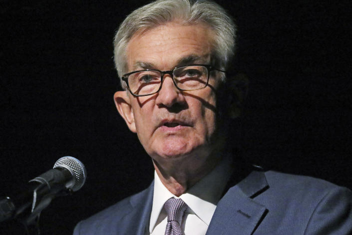 """Federal Reserve Chairman Jerome Powell speaks Monday, Oct. 7, 2019, in Salt Lake City, before the premiere of a film commemorating Marriner Eccles, who led the Fed from 1934 until 1948. Powell is stressing the importance of an independent central bank """"absolutely free"""" from politics. Powell's comments Monday in Salt Lake City came after President Donald Trump has repeatedly pressured Powell to lower interest rates and said the United States is missing out on economic opportunities because of """"boneheads"""" at the Federal Reserve. (AP Photo/Rick Bowmer)"""