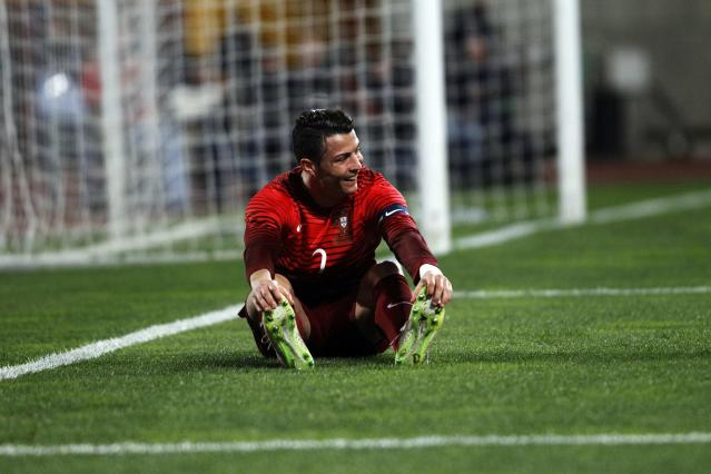 Portugal's Ronaldo reacts during their international friendly soccer match against Cameroon held at Leiria stadium