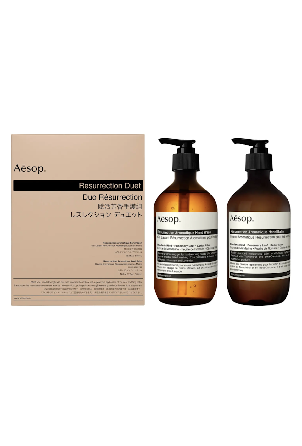 """<h2>Aesop Resurrection Aromatique Hand Wash & Hand Balm Duet</h2><br>We all wash our hands, so might as well make it an olfactory experience with this Aesop duo.<br><br><strong>Aesop</strong> Resurrection Aromatique Hand Wash & Hand Balm Duet, $, available at <a href=""""https://go.skimresources.com/?id=30283X879131&url=https%3A%2F%2Fwww.nordstrom.com%2Fs%2Faesop-resurrection-aromatique-hand-wash-hand-balm-duet%2F4363815%3F"""" rel=""""nofollow noopener"""" target=""""_blank"""" data-ylk=""""slk:Nordstrom"""" class=""""link rapid-noclick-resp"""">Nordstrom</a>"""