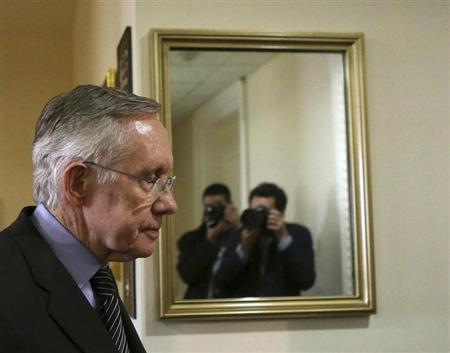 Senator Harry Reid arrives at press conference on Capitol Hill in Washington