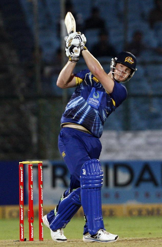 Otago Volts player in action during the Champions League T20 match between Lions and Otago Volts at Sawai Mansingh Stadium, Jaipur on Sept. 29, 2013. (Photo: IANS)