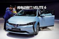 FILE PHOTO: Buick's electric vehicle(EV) Velite 6 of GM is unveiled during the media day for Shanghai auto show
