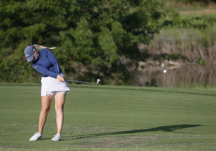 Matilda Castren, of Finland, plays her second second shot from the ninth fairway during the second round of the LPGA Volunteers of America Classic golf tournament in The Colony, Texas, Friday, July 2, 2021. (AP Photo/Ray Carlin)