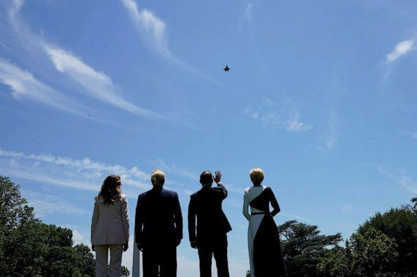 PHOTO: President Donald Trump and first lady Melania Trump stand with Poland's President Andrzej Duda and his wife, Agata Kornhauser-Duda, as they watch an F-35 flyover outside the White House in Washington, June 12, 2019. (Kevin Lamarque/Reuters)