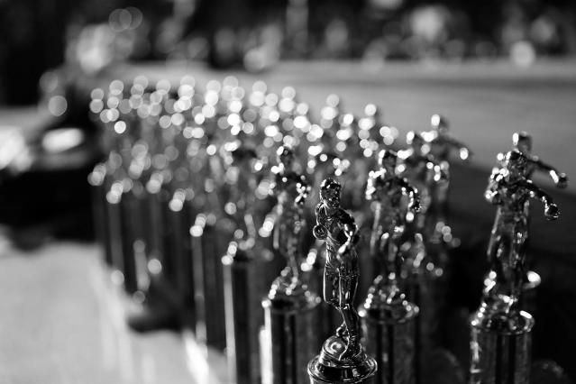<p>Trophies for the fighters sit on the judges' table during the Brooklyn Smoker in Coney Island, Brooklyn, on Aug. 24, 2017. (Gordon Donovan/Yahoo News) </p>