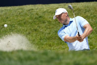 Jordan Spieth plays a shot from a bunker on the 13th hole during a practice round of the U.S. Open Golf Championship, Tuesday, June 15, 2021, at Torrey Pines Golf Course in San Diego. (AP Photo/Marcio Jose Sanchez)