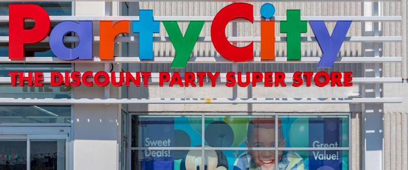 Toronto, Ontario, Canada-May 2, 2019: Party City colorful entrance sign. Party City is an American publicly traded retail chain of party supply stores founded in 1986 by Steve Mandell.